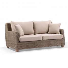 Grange 3 Seater Outdoor Wicker and Teak Lounge