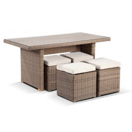 Half Round Wicker Dining Coffee Table with 4 Stowaway Ottomans