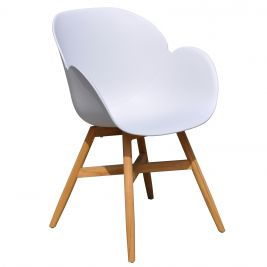 Oscar Outdoor Dining Chair in White with Teak Legs