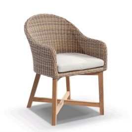 COASTAL WICKER OUTDOOR DINING CHAIR With Teak Timber Legs in Brushed Wheat