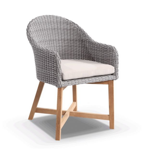 Coastal Wicker Outdoor Dining Chair With Teak Timber Legs In Brushed Grey
