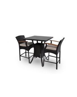 Wanika 2 Seater Outdoor Wicker and Glass Top Bar Patio Furniture Setting